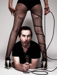 Chris Henry Comedian with sexy burlesque girl